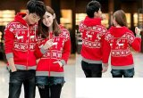 Promo Toko Jakarta Couple Jaket Pasangan Rusa Snowflake Merah