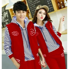 Jual Jakarta Couple Jaket Salur Merah Jaket Couple Terbaru Online