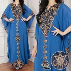 jakarta couple - kaftan elegant muslim blue ( FULL BORDIRAN)