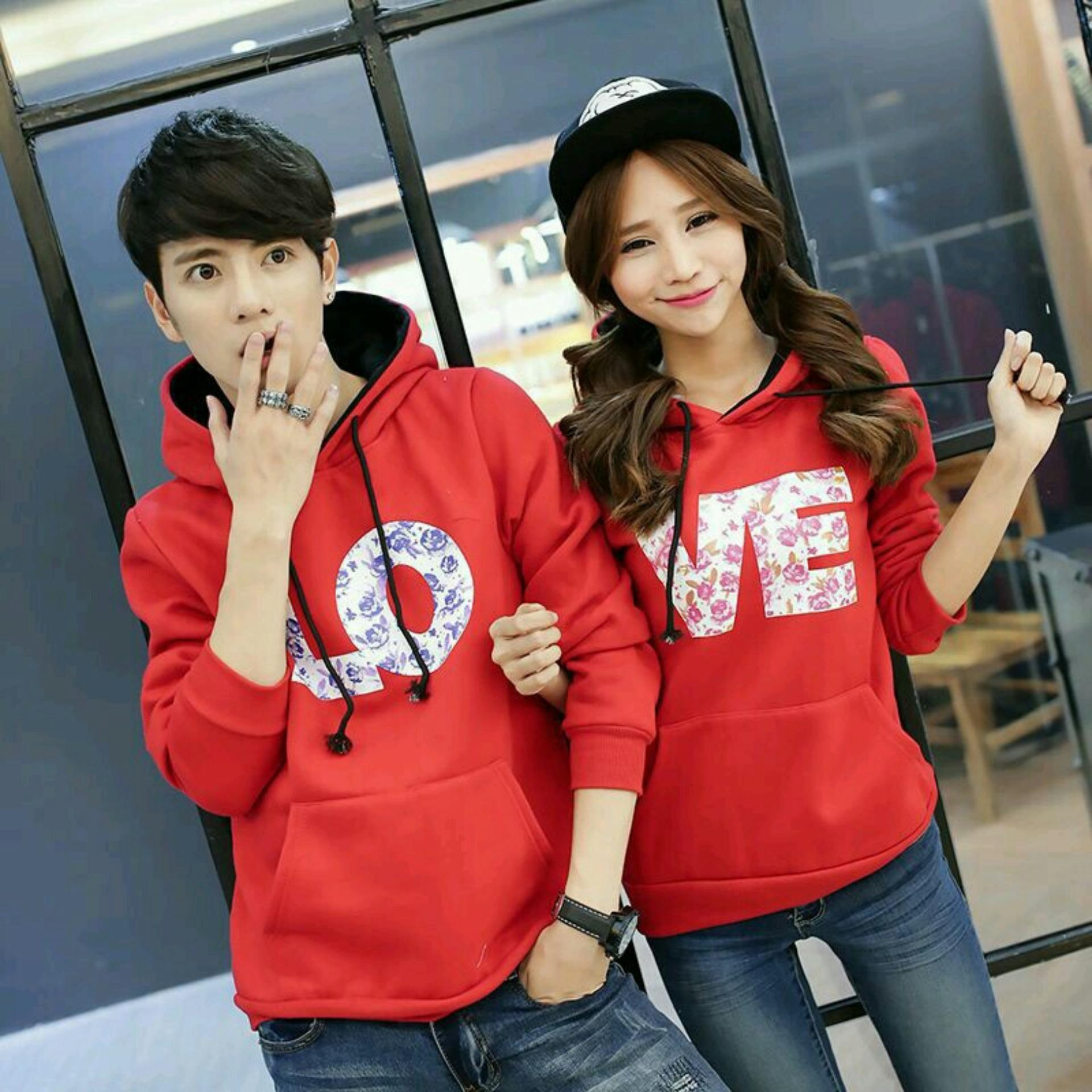 Jakarta Couple - Sweater Couple LOVE/ Sweater Couple Hoodie/ Baju Couple Murah / Fashion