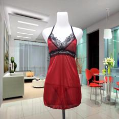 Jakarta Lingerie Sexy Sleeping Dress Maroonn With G-String - 64