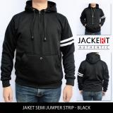 Situs Review Jaket Sweater Polos Semi Jumper Strip Hitam