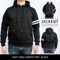 Spesifikasi Jaket Sweater Polos Semi Jumper Strip Hitam Murah