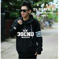 Jaket 3 Second Hand Strip Black Sweater Hoodie Best Seller Fit to L - Merah