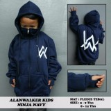 Iklan Jaket Anak Aw Hoodie Zipper Ninja Alan Walker Hitam Sablon Putih Biru