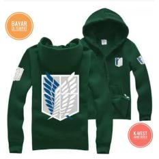 Jaket Anime Attack On Titan Green Hoodie Zipper - Best Seller