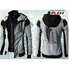 Jual Jaket Attack On Titan Dobel Zipper Grey Bang Cloth Grosir