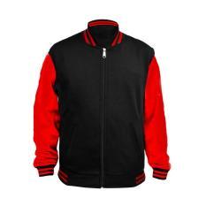 Jaket Baseball Varsity Polos - Hitam Merah