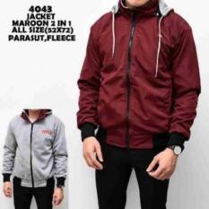 Jaket Bolak Balik 2In1 Parasut Fleece Maroon Grey Polos Cowok Pria - Ace335