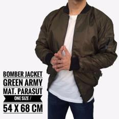 Jaket Bomber Army Pria Cowok Casual Warna Hijau Reversible Bolak Balik - Decaed