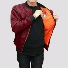Jaket Bomber Bgsr waterproof- Merah Maroon