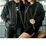 Toko Jaket Bomber Couple Pria Wanita Polos Hitam Lengkap
