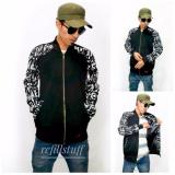 Toko Jaket Bomber Fleece Kombinasi Kanvas Motif Murah Dan Best Seller Black Lengkap Di Jawa Barat