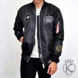 Jual Jaket Bomber Kent Retro Full Patch Black Branded Murah