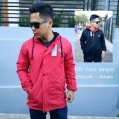 Jaket Bomber Merah Hitam Bolak Balik Taslan Waterproof M,L