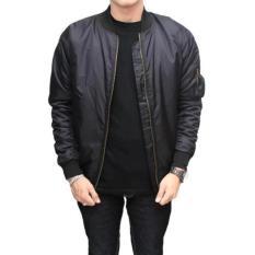 Jayasinar Jaket Bomber Pria All Size Jaket Parasut 2In1 Bolak Balik Hitam Jawa Barat