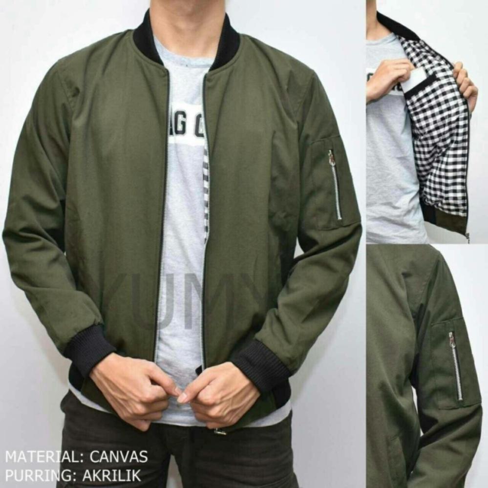 Harga preferensial Jaket Bomber Pria Polos Canvas Premium - Hijau terbaik  murah - Hanya Rp98. 7ffa809e19