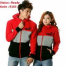 Jaket Couple Kombinasi Warna Merah- Abu Dan Hitam - Bd5baa