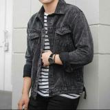 Toko Jaket Denim Jeans Trucker Premium Pria Cowok Black Stonewash Hitam Terlengkap