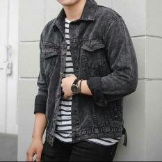 Jaket Denim Jeans Trucker Premium Pria Cowok Black Stonewash Hitam Di Jawa Barat