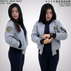 Model Jaket Flight Bomber Ladies Kicksoogar Abu Abu Terbaru