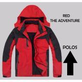 Jual Jaket Gunung Adventure Jaket Waterproof Red Hoodie Lepas Pasang Murah Jawa Barat