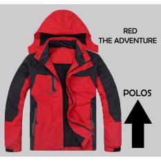 Jual Jaket Gunung Adventure Jaket Waterproof Red Hoodie Lepas Pasang Grosir