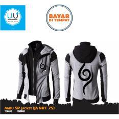 Jaket Hoodie Anbu Double Zipper (Jaket Ninja Naruto Kakashi Sasuke Sakura) Best Seller Grey/Black