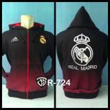 Jaket Hoodie Bola Real Madrid R 724 Gradasi Merah Logo Belakang Multi Diskon 30