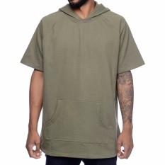 Jaket Hoodie Lengan Pendek Short Sleeve Hoodie Green Army
