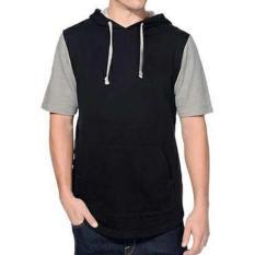 Jual Jaket Hoodie Lengan Pendek Short Sleeve Hoodie Raglan Black Grey Multi Branded