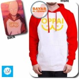 Harga Jaket Hoodie Sweater Anime One Punch Man Saitama Oppai Best Seller White Red Yang Bagus