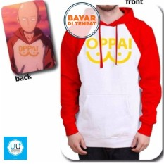 Review Jaket Hoodie Sweater Anime One Punch Man Saitama Oppai Best Seller White Red Jaket Anime
