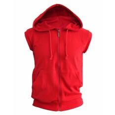 Jaket Hoodie Tanpa Lengan Sleeveless Hoodie Merah Zipper