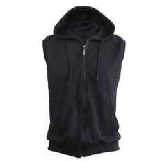 Jaket Hoodie Tanpa Lengan Sleeveless Hoodie Vest Hoodie Hitam Zipper