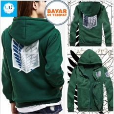 Jaket Hoodie Zipper Anime Attack_on_Titan Jaket AoT Best Seller - Green