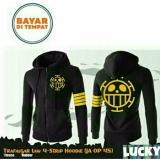 Spesifikasi Jaket Hoodie Zipper Anime One Piece Trafalgar 4 Strip Best Seller Black Aduuh