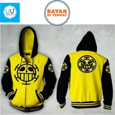 Spesifikasi Jaket Hoodie Zipper Anime One Piece Trafalgar Law Best Seller Yellow Black Yang Bagus Dan Murah