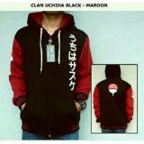 Review Jaket Hoodie Zipper Clan Uchiha Black Maroon Bang Cloth