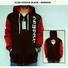Beli Jaket Hoodie Zipper Clan Uchiha Black Maroon Online Terpercaya