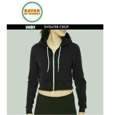 Jaket Hoodie Zipper Sweater Crop Hitam Black Best Seller