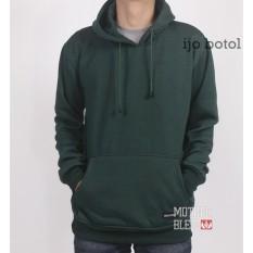 3R sweater hoody polos pria ijo botol