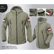 Jaket Tactical TAD Bendera Indonesia Bahan Import. Warna Hijau Army. Waterproof Anti Air Promo