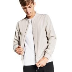 Promo Jaket Jas Baseball Zipper Jacket New Style Putih Tulang Akhir Tahun