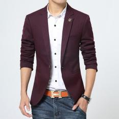 Jual Jaket Jas Blazer Casual Trend Fashion Korean Merah Maroon Satu Set