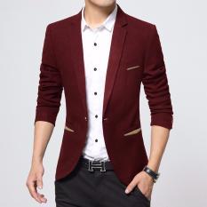 Jaket Jas Blazer Pria New Korean Style Merah Jawa Tengah