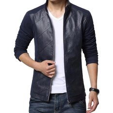 Jaket Jas - Casual Jacket Blazer New Leather Comby - Biru Dongker