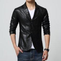 Jaket Jas - Jas Blazer Kulit Trend Fashion - Hitam