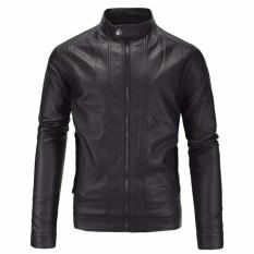 Jaket Jas - Leather Jacket Black Biker Style Trendy - Hitam
