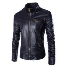 Jaket Jas - Leather Jacket Black Style Biker Design Trendy - Hitam
